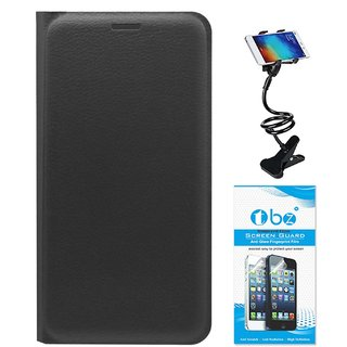 TBZ PU Leather Flip Cover Case for Coolpad Mega 3 with Flexible Lazy Stand and Tempered Screen Guard -Black
