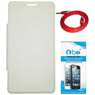TBZ Flip Cover Case for Micromax Canvas Mega Q417 with AUX Cable and Tempered Screen Guard -White