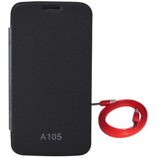 TBZ Flip Cover Case for Micromax Canvas Entice A105 with AUX Cable -Black