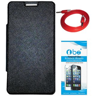 TBZ Flip Cover Case for Micromax Canvas Mega Q417 with AUX Cable and Tempered Screen Guard -Black