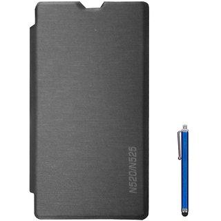 TBZ Flip Cover Case for Nokia Lumia 520/525 with Stylus -Black