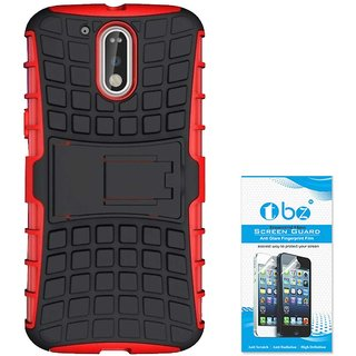 TBZ Hard Grip Rubberized Kickstand Back Cover Case for Motorola Moto G4 Plus with Tempered Screen Guard -Red