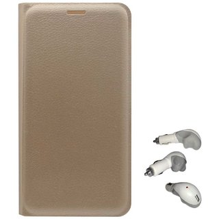 TBZ PU Leather Flip Cover Case for Redmi 3S with USB Car Charger -Golden