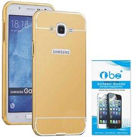 TBZ Metal Bumper Acrylic Mirror Back Cover Case for Samsung Galaxy J7 Prime with Tempered Screen Guard -Golden