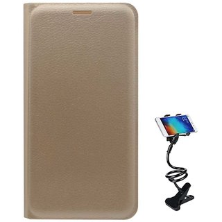 TBZ PU Leather Flip Cover Case for Samsung Galaxy On8 with Flexible Tablet/Phone Holder Lazy Stand -Golden