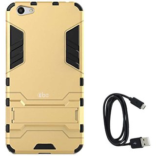 TBZ Tough Heavy Duty Shockproof Armor Defender Dual Protection Layer Hybrid Kickstand Back Case Cover for Oppo F3 Plus with Data Cable -Golden