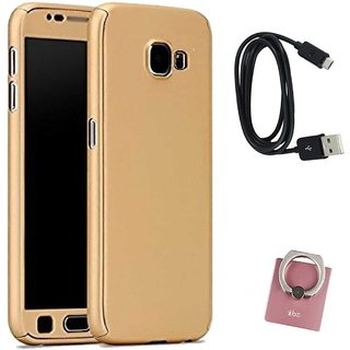 TBZ 360 Degree Protection Front & Back Case Cover Cover for Samsung Galaxy On Max with Mobile Ring Holder and Data Cable -Golden