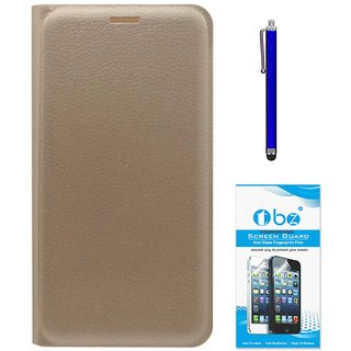 TBZ PU Leather Flip Cover Case for Samsung Galaxy On8 with Stylus Pen and Tempered Screen Guard -Golden