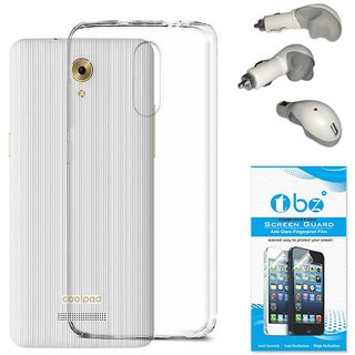 TBZ Transparent Silicon Soft TPU Slim Back Case Cover for Coolpad Mega 3 with Car Charger and Tempered Screen Guard