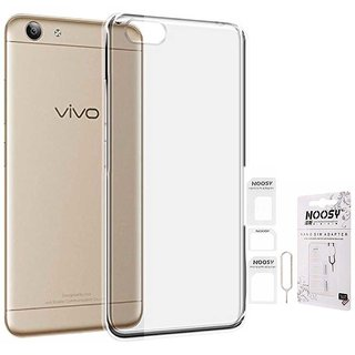 TBZ Transparent Silicon Soft TPU Slim Back Case Cover for Vivo Y53 with Nossy Sim Adaptor