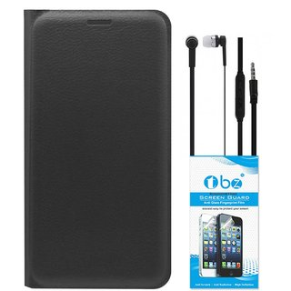 TBZ PU Leather Flip Cover Case for Samsung Galaxy On8 with Earphone and Tempered Screen Guard -Black