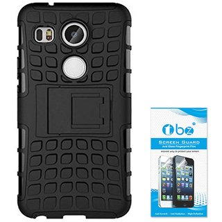 TBZ Hard Grip Rubberized Kickstand Back Cover Case for LG Google Nexus 5 with Screen Guard -Black