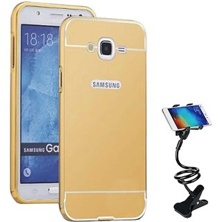TBZ Metal Bumper Acrylic Mirror Back Cover Case for Samsung Galaxy On8 with Flexible Tablet/Phone Holder Lazy Stand -Golden