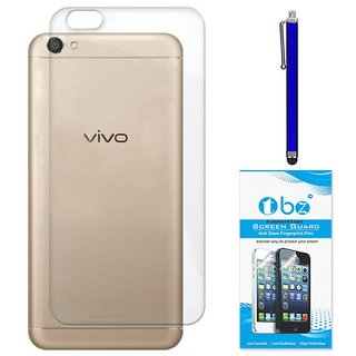 TBZ Transparent Silicon Soft TPU Slim Back Case Cover for Vivo V5 with Stylus Pen and Tempered Screen Guard