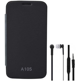 TBZ Flip Cover Case for Micromax Canvas Entice A105 with Earphone -Black