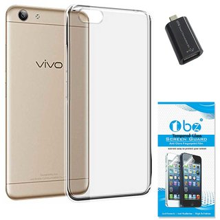 TBZ Transparent Silicon Soft TPU Slim Back Case Cover for Vivo Y53 with OTG Adaptor and Tempered Screen Guard