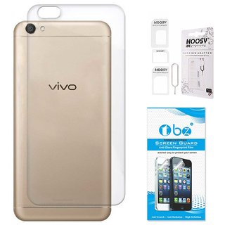 TBZ Transparent Silicon Soft TPU Slim Back Case Cover for Vivo V5 with Nossy Sim Adaptor and Tempered Screen Guard