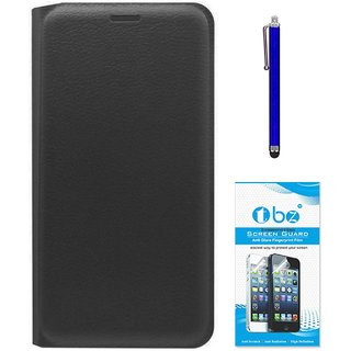 TBZ PU Leather Flip Cover Case for LeEco Le 2 with Stylus Pen and Tempered Screen Guard -Black