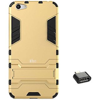 TBZ Tough Heavy Duty Shockproof Armor Defender Dual Protection Layer Hybrid Kickstand Back Case Cover for Vivo V5 with Cute Micro USB OTG Adapter -Golden