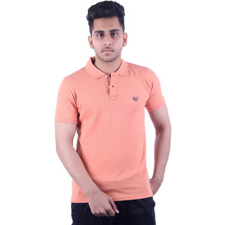 Ogarti Men's Peach Polo Collar T-shirt