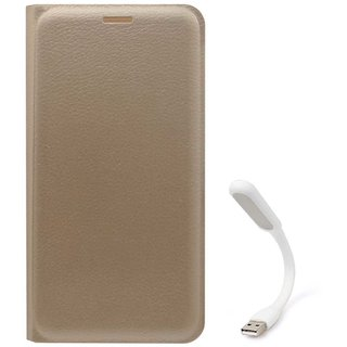TBZ PU Leather Flip Cover Case for Samsung Galaxy On8 with Flexible USB LED Light -Golden