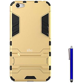 TBZ Tough Heavy Duty Shockproof Armor Defender Dual Protection Layer Hybrid Kickstand Back Case Cover for Vivo V5 with Stylus -Golden