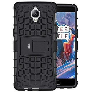 TBZ Grip Rubberized Kick stand Back Cover Case for OnePlus 3T -Black