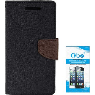 TBZ Diary Wallet Flip Cover Case for Oppo F1s with Tempered Screen Guard -Black-Brown