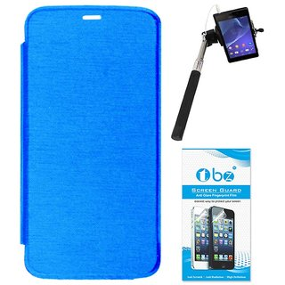 TBZ Flip Cover Case for Micromax Canvas A1 with Selfie Stick Monopod with Aux and Screen Guard -Blue