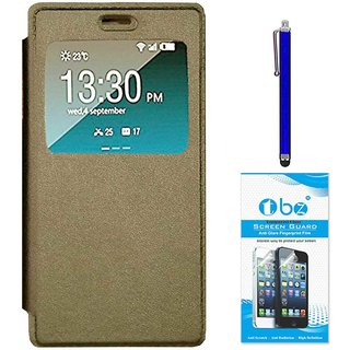 TBZ Window Premium Flip Cover Case for Oppo A37 with Stylus Pen and  Tempered Screen Guard -Gold