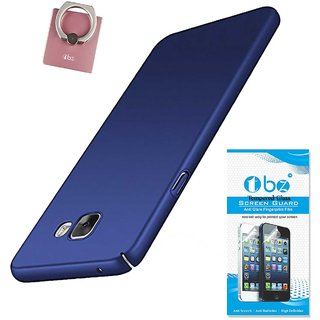 TBZ All Sides Protection Hard Back Case Cover for Samsung Galaxy J7 Max with Phone Ring Holder and Tempered Screen -Blue