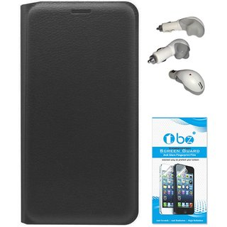 TBZ PU Leather Flip Cover Case for Lenovo Vibe K5 Plus with Car Charger and Tempered Screen Guard -Black