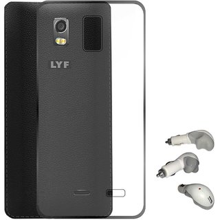 TBZ Transparent Silicon Soft TPU Slim Back Case Cover for Lyf Water 11 with USB Car Charger
