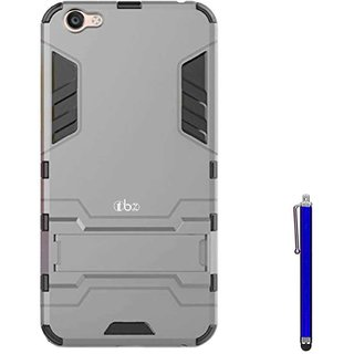 TBZ Tough Heavy Duty Shockproof Armor Defender Dual Protection Layer Hybrid Kickstand Back Case Cover for Vivo V5 with Stylus -Grey
