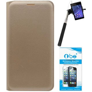 TBZ PU Leather Flip Cover Case for Lenovo Vibe K5 Plus with Selfie Stick Monopod with Aux and Screen Guard -Golden