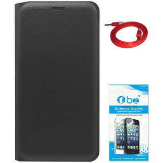 TBZ PU Leather Flip Cover Case for LeEco Le 2 with AUX Cable and Tempered Screen Guard -Black