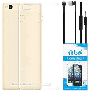 TBZ Transparent Silicon Soft TPU Slim Back Case Cover for Redmi 3S with Earphone and Tempered Screen Guard