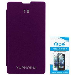 TBZ Flip Cover Case for YU Yuphoria YU5010 with Screen Guard -Purple
