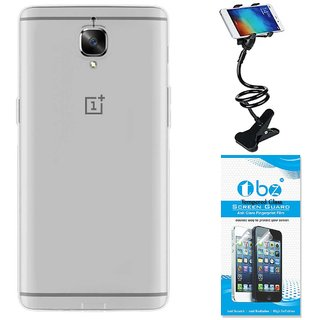 TBZ Transparent Silicon Soft TPU Slim Back Case Cover for OnePlus 3 / OnePlus 3T with Flexible Lazy Stand and Tempered Screen Guard