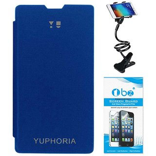 TBZ Flip Cover Case for for YU Yuphoria YU5010 with Flexible Lazy Stand and Tempered Screen Guard -Blue