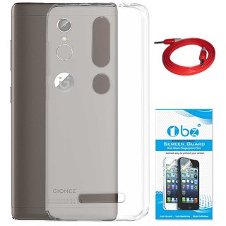 TBZ Transparent Silicon Soft TPU Slim Back Case Cover for Gionee S6s with AUX Cable and Tempered Screen Guard