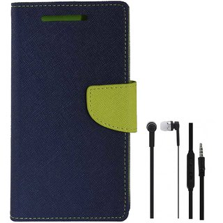 TBZ Diary Wallet Flip Cover Case for Oppo F3 plus with Earphone -Blue-Green