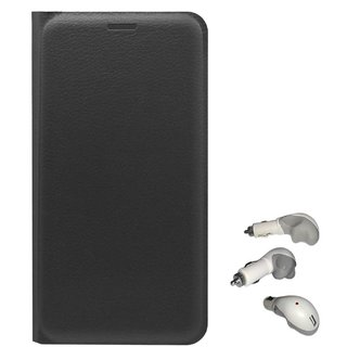 TBZ PU Leather Flip Cover Case for Coolpad Note 5 with USB Car Charger -Black