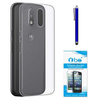 TBZ Transparent Silicon Soft TPU Slim Back Case Cover for Motorola Moto G4 Play with Stylus Pen and Tempered Screen Guard
