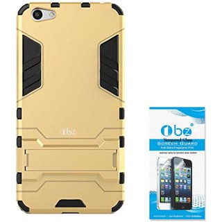 TBZ Tough Heavy Duty Shockproof Armor Defender Dual Protection Layer Hybrid Kickstand Back Case Cover for Vivo V5 with Tempered Screen Guard -Golden