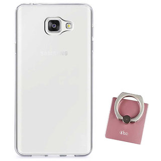 TBZ Transparent Silicon Soft TPU Slim Back Case Cover for Samsung Galaxy J7 Max with Mobile Ring Holder