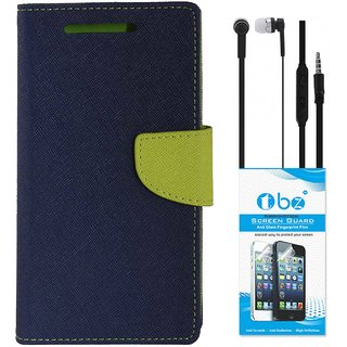 TBZ Diary Wallet Flip Cover Case for Gionee A1 with Earphone and Tempered Screen Guard -Blue-Green