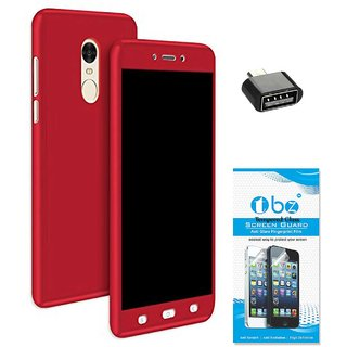 TBZ 360 Degree Protection Front & Back Case Cover for Vivo Y66 with OTG Adaptor and Tempered Screen Guard -Red