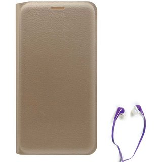 TBZ PU Leather Flip Cover Case for Lenovo Vibe K5 Plus with Earphone -Golden