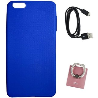 TBZ Rubberised Silicon Soft Back Cover Case for OnePlus 5 with Mobile Ring Holder and C-Type Data Cable -Blue